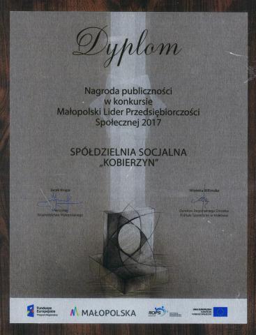 Dyplom - nagroda publiczności Małopolski Lider Przedsiębiorczości Społecznej